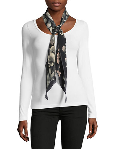 Echo Silk Floral-Print Oblong Scarf-BLACK-One Size