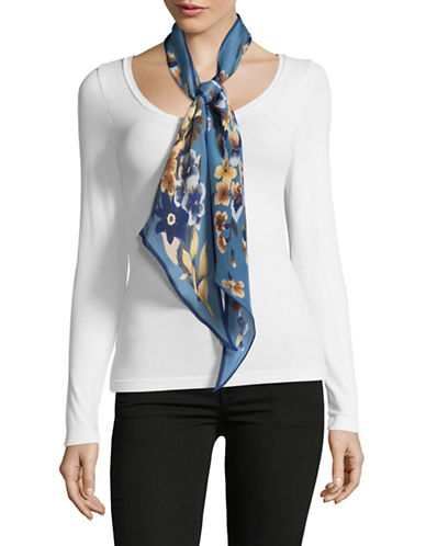 Echo Silk Floral-Print Oblong Scarf-BLUE-One Size