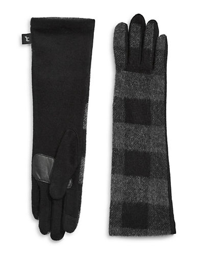 Echo Buffalo Plaid Wool-Blend Gloves-BLACK-Large
