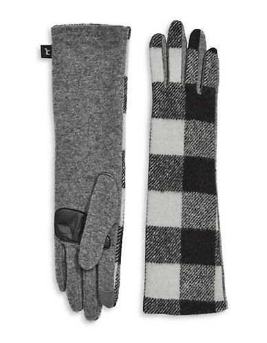 Echo Buffalo Plaid Wool-Blend Gloves-HEATHER GREY-Small