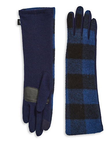 Echo Buffalo Plaid Wool-Blend Gloves-NAVY-Large