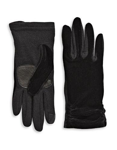 Echo Colourblock Velvet Gloves-BLACK-Large