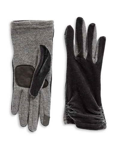 Echo Colourblock Velvet Gloves-GREY-Medium