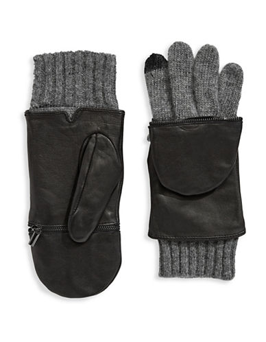 Echo Leather Ribbed Glitten Gloves-BLACK-Large