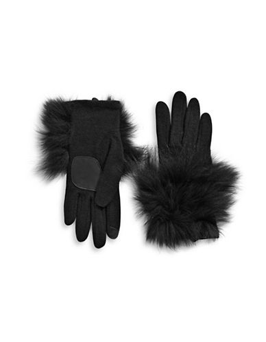 Echo Luxe Fox Fur Trim Gloves-BLACK-Large
