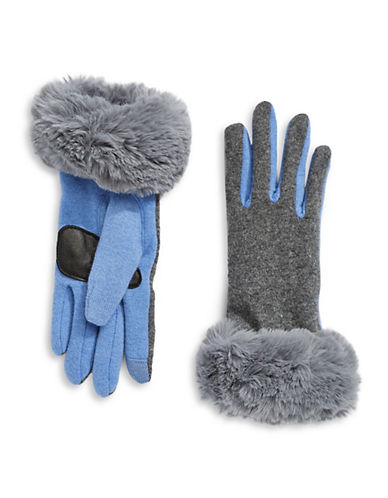 Echo Faux Fur Cuff Gloves-GREY-Small