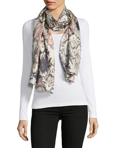 Echo Silk Floral-Print Oblong Scarf-SILVER-One Size