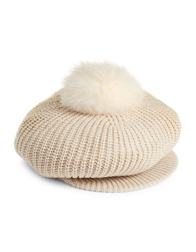 Echo Fox Fur Trimmed Newsboy Cap-FOG-One Size