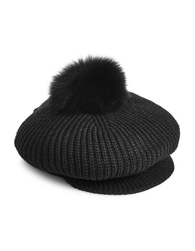 Echo Fox Fur Trimmed Newsboy Cap-BLACK-One Size