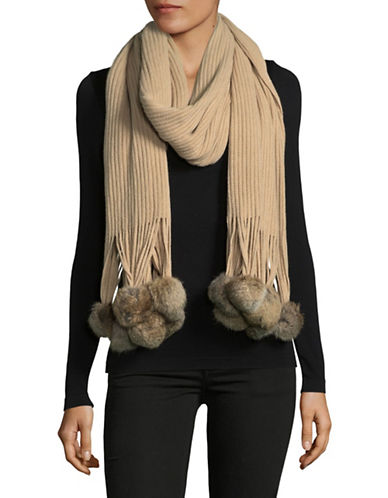 Echo Rabbit Fur Trimmed Scarf-OATMEAL-One Size