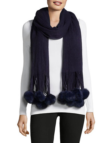 Echo Rabbit Fur Trimmed Scarf-NAVY-One Size