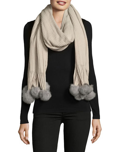 Echo Rabbit Fur Trimmed Scarf-SILVER-One Size