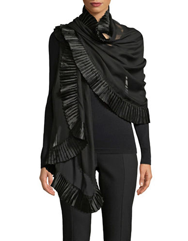 Echo Accordion Pleated Scarf-BLACK-One Size
