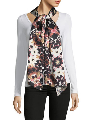 Echo Floral-Print Oblong Scarf-BLACK-One Size