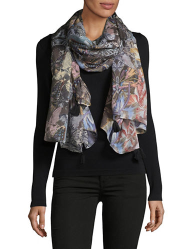 Echo Butterfly and Floral-Print Wrap-GREY-One Size
