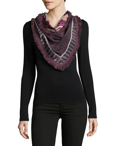 Echo Triangular Multi-Print Fringe Scarf-PURPLE-One Size