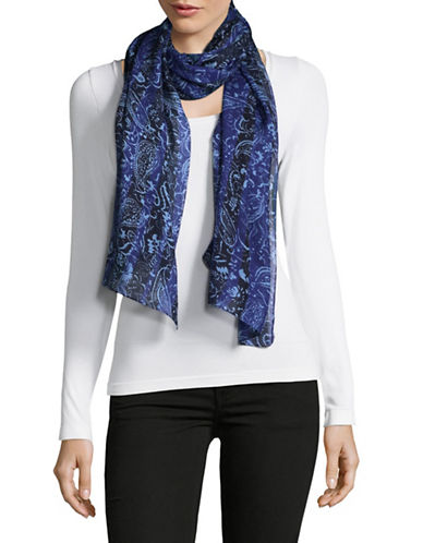 Echo Striped Paisley Oblong Scarf-BLUE-One Size