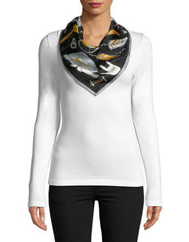 Echo With Love Square Silk Scarf-BLACK-One Size