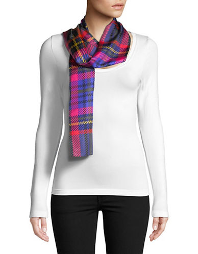 Echo Graphic Plaid Oblong Silk Scarf-MAGNET-One Size