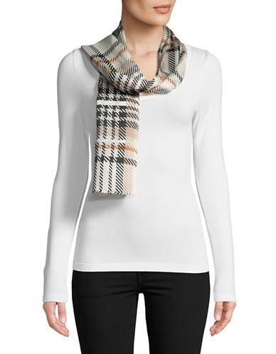 Echo Graphic Plaid Oblong Silk Scarf-MARSHMALLOW-One Size