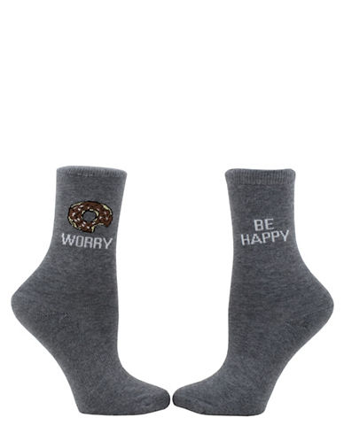 Sockart Womens Donut Worry Socks-GREY-9-11