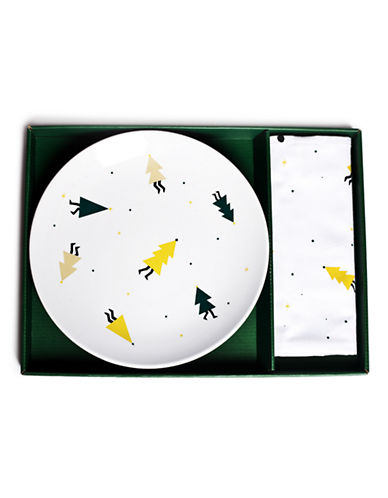 Drake General Store Party Pines Plate and Tea Towel Set-MULTI-One Size