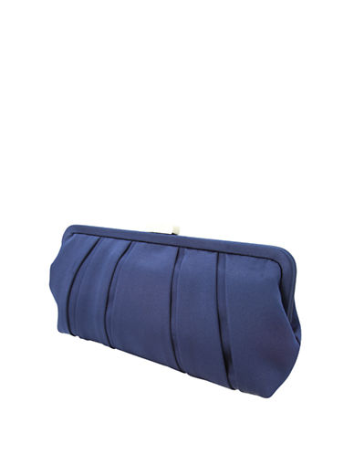 Nina Logan Satin Pleat Clutch-NEW NAVY-One Size