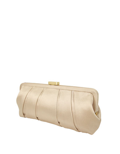 Nina Logan Satin Pleat Clutch-CHAMPAGNE-One Size