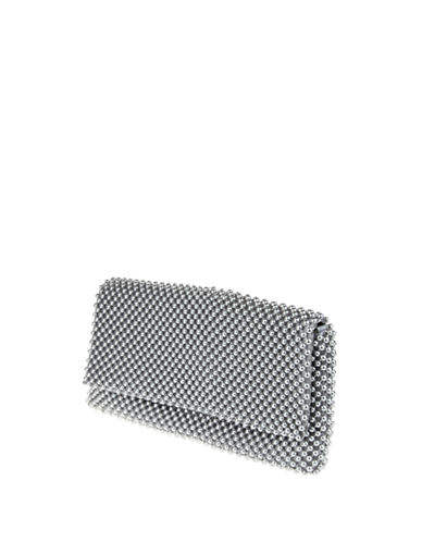 Nina Keiko Ball Mesh Clutch-SILVER-One Size