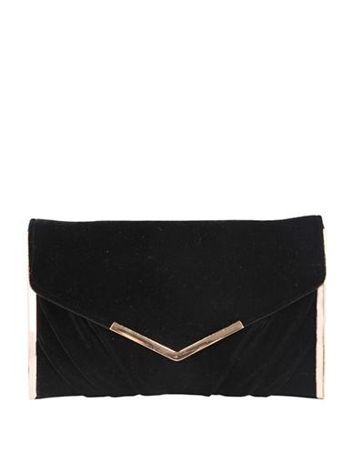 Nina Liddie Pleated Clutch-BLACK-One Size