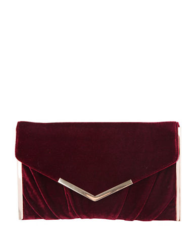 Nina Liddie Pleated Clutch-RED-One Size