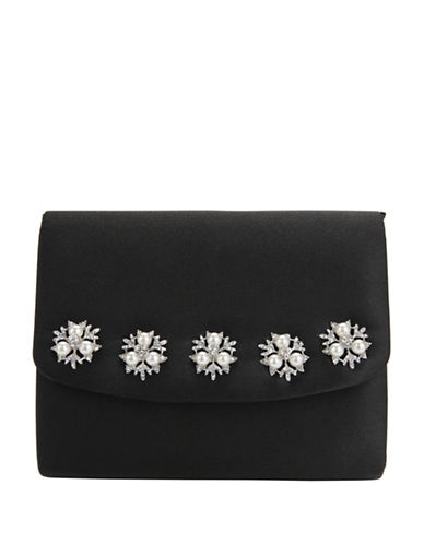 Nina Dabney Satin Clutch-BLACK-One Size