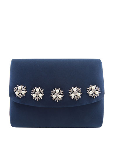 Nina Dabney Satin Clutch-BLUE-One Size