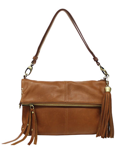 Lucky Brand Del Rey Leather Foldover Bag-COGNAC-One Size