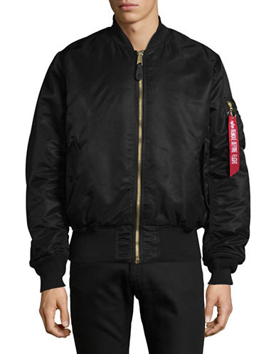 Alpha Industries Flight Nylon Bomber Jacket-BLACK-Small