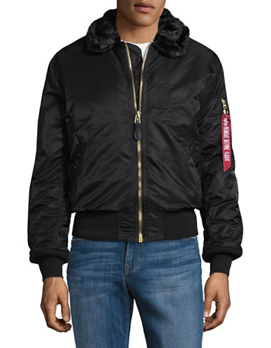 Alpha Industries Faux Fur Trimmed Bomber Jacket-BLACK-Medium