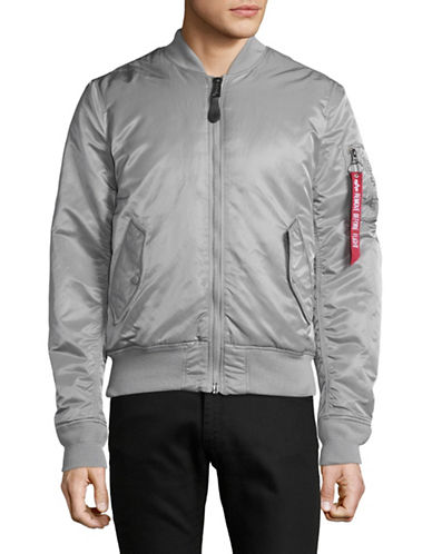 Alpha Industries MA-1 Slim Flight NY Reversible Bomber Jacket-SILVER-Small