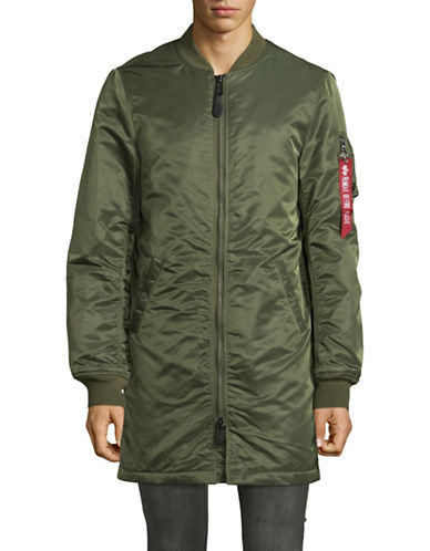 Alpha Industries Long Sleeve Bomber Jacket-GREEN-Medium