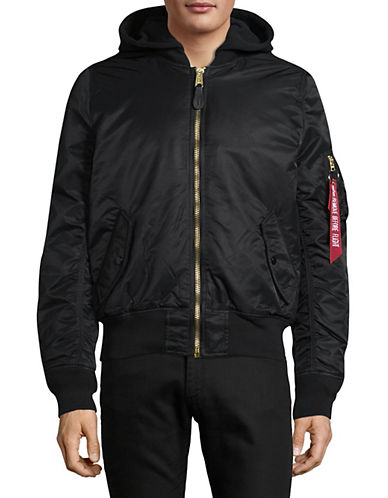 Alpha Industries Zip Hooded Jacket-BLACK-Large