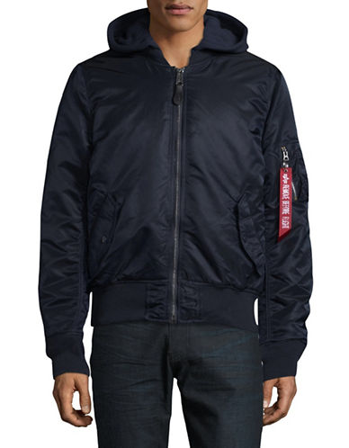 Alpha Industries Zip Hooded Jacket-NAVY-Medium