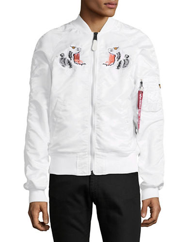 Alpha Industries Souvenir Embroidered Tiger Bomber Jacket-WHITE-Medium 89379217_WHITE_Medium