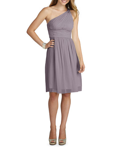 Donna Morgan Rhea One Shoulder Chiffon Dress-GREY RIDGE-16