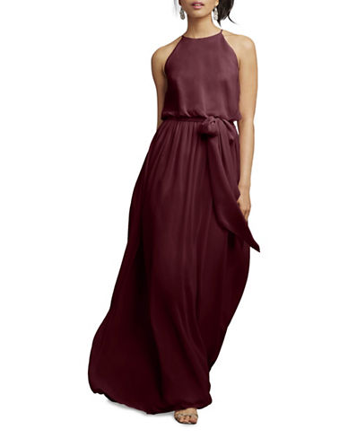 Donna Morgan Alana Draped Blouson Dress-CABERNET-8