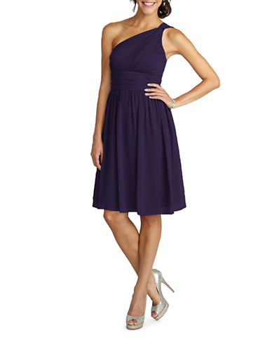 Donna Morgan Rhea One Shoulder Chiffon Dress-AMETHYST-12