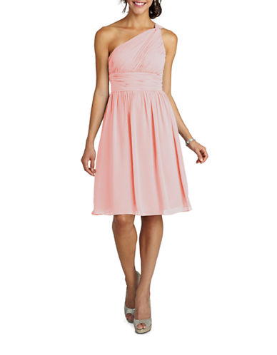 Donna Morgan Rhea One Shoulder Chiffon Dress-BLUSH-18