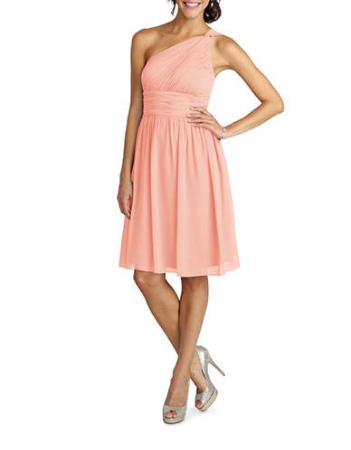 Donna Morgan Rhea One Shoulder Chiffon Dress-PEACH FUZZ-16