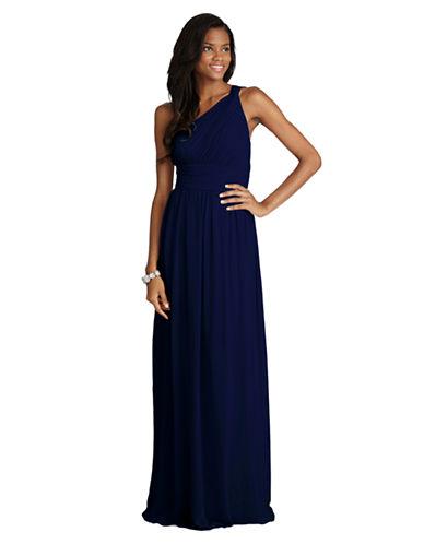 Donna Morgan Rachel One Shoulder Chiffon Dress-MIDNIGHT-10