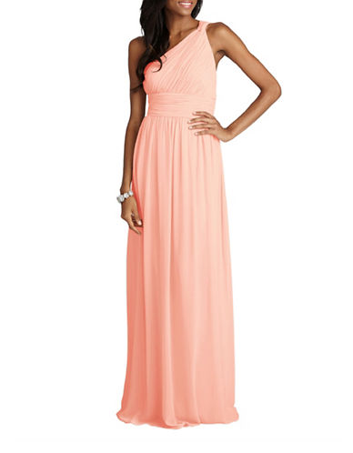 Donna Morgan Rachel One Shoulder Chiffon Dress-PALEST PINK-14