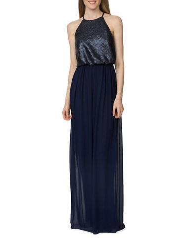 Donna Morgan Hannah Sequined Blouson Dress-MIDNIGHT-2