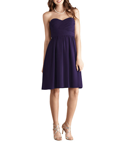Donna Morgan Sarah Short Strapless Sweetheart Chiffon Dress-AMETHYST-0